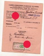 SNCB Carte D'identité D'ouvrier 1951 Veeschkens De  Clermont / Parcours Froidthier - Bois De Breux / Cachet Battice - Cartes