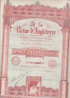 """PART BENEFICIAIRE """" A LA REINE D'ANGLETERRE """" - ANNEE 1924 - Aandelen"""