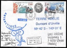ANTARCTIC, TAAF, D´URVILLE, 4.2.1999,  Cachets: OZONE + Signature Le Chef, Look Scans !! 15.2-75 - Antarctische Expedities