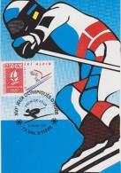 CARTE PREMIER JOUR FRANCE 1991 Jeux Olympiques D'Albertville 1992 Ski Alpin  Val D'isère - Hiver 1992: Albertville