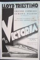 PAQUEBOT ADVERTISING LLOYD TRIESTINO TRIESTE VIAGGI NAVIGAZIONE NAVI MOTONAVE VICTORIA ITALIA EGITTO - Publicités