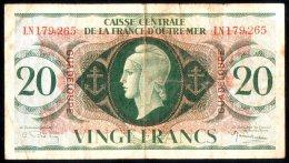 20 Francs Caisse Centrale De La France D´Outre- Mer .guadeloupe 1944 Rare - Francia