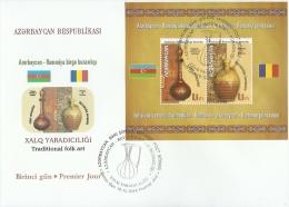 az1089F Azerbaijan 2014 Traditional folk art Joint issue of Azerbaijan and Romania Flag s/s FDC