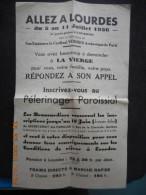 """Tract """"ALLEZ A LOURDES"""" 1936 Sous La Présidence De Son Eminence Le Cardinal VERDIER - Religion & Esotérisme"""