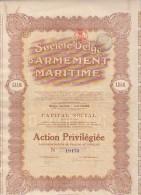 ACTION - SOCIETE BELGE D'ARMEMENT MARITIME -ANVERS - 1922 - Aandelen