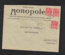 Lettre Chocolat Monopole Pour L'Allemagne - 1921-1960: Periodo Moderno