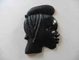 Masque Portrait Africain En Bois  Noble  D´ébène Massif - Art Africain