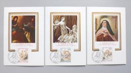 Vatikan 808/10 YT 731/3 Un 713/5 Maximumkarte MK/MC, ESST, Hl. Theresia Von Ávila (1515-1582), Spanische Mystikerin - Cartes-Maximum (CM)