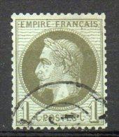 FRANCE - 1863-70 - Napoléon III, Lauré - N° 25a - 1 C. Olive - (Oblitération : Timbre à Date) - 1863-1870 Napoleon III With Laurels