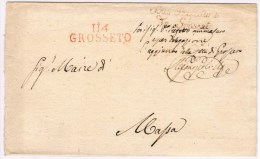 Départements Conquis. 114 Grosseto + Sous Préfecture De Grosseto. (Sans Dates =de 1809 à 1814) - Marcofilie (Brieven)