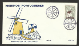 Portugal 1971 FDC Moulins Moulin Cachet Funchal Madère Madeira FDC Windmills Windmill - Mühlen