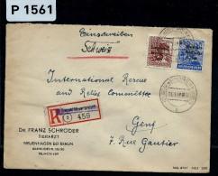ALLEMAGNE - LETTRE EN RECOMMANDEE DE BERLIN ZONE SOVIETIQUE POUR GENEVE ( Croix Rouge)  1949   A VOIR - Zone Soviétique