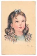 Portrait De Petite Fille. Signé Mariapia. - Portretten
