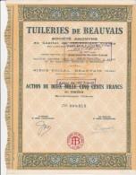 ACTION DE 2500 FRANCS -TUILERIES DE BEAUVAIS -OISE- 1919 - Industrie