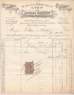 FACTURE 1888. RHONE. LYON RUE DE LA PREFECTURE. PORCELAINE CRISTAUX FAIENCE VERRERIE. ANTOINE GEREST. /41 - France