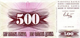 BILLET DE 500 DINARS YOUGOSLAVES (DINARA) - BOSNIE-HERZEGOVINE - 1992 - Bosnia Erzegovina