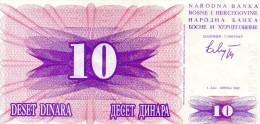 BILLET DE 10 DINARS YOUGOSLAVES (DINARA) - BOSNIE-HERZEGOVINE - 1992 - Bosnia And Herzegovina