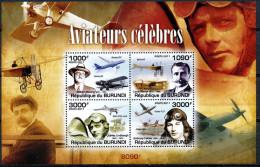 BURUNDI 2011 SHEET Bur11309b AVIATEURS AVIATORS FLYERS AVIATION AIRPLANES - Famous People