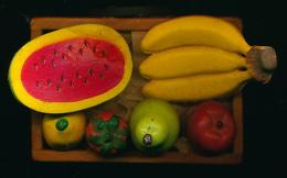 MAGNET : CAISSE A FRUITS, Pasteque, Banane, Citron, Pomme, Poire, Tomate, La Caisse Est En Bois, Alimentation, Fruits - Magnets