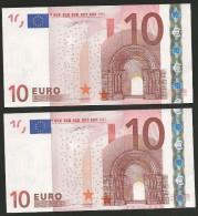 "Lot 2 Concecutive Numbers Greece  ""Y"" 10  EURO GEM UNC! DUINSEBERG Signature!!  ""Y""   Printer  N001G1 Extr.rare! - EURO"