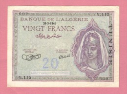 Tunisia 20 Francs 1943   SPL - Tunisia