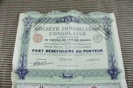 Action Titre Societe IMMOBILIERE CONGOLAISE Rue Ballu PARIS 5 Déc 1929 Part Bénéficiaire Au Porteur - G - I