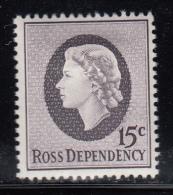 New Zealand - Ross Dependency MH Scott #L8 15c Queen Elizabeth II - Neufs