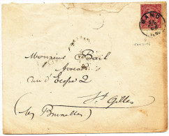 1890 BRIEF MET PZ 46(VARIETEIT ONTBREKENDE PERFORATIE) VAN GAND NAAR BRUXELLES 1 ZIE SCAN(S) - 1884-1891 Leopoldo II