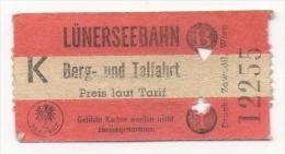 Ticket De Téléphérique. Lünersseebahn. Berg Und Talfahrt. - Titres De Transport
