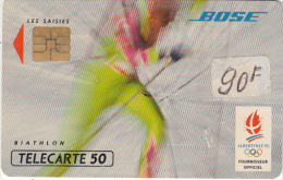 FRANCE - BOSE 5/Biathlon, Albertville 1992 Winter Olympics, 12/91, Used - Giochi Olimpici