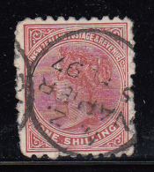 New Zealand Used Scott #67 1sh Queen Victoria - Perf Faults Cancel: Napier 97 - 1855-1907 Colonie Britannique