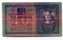 """Hongrie Hungary Ungarn Ovp 10 Korona / Kronen 1904 """" Tolna Varmegye Bonyhad Község 1919 """" - Hongrie"""