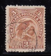 New Zealand Used Scott #75 3p Huia, Sacred Birds Cancel: Waiuku ?6 NO 98 - 1855-1907 Colonie Britannique