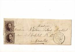 BELGICA 1865, CARTA ENVUELTA CIRCULADO MANUSCRITO DEL AÑO 1865 CON SELLO Nº 14 Yv BRUXELLES - 1865-1866 Profile Left