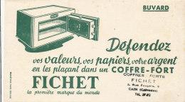 BU 1357 / BUVARD    COFFRE-FORT  FICHET  CAEN - Buvards, Protège-cahiers Illustrés