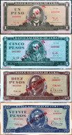 1968-78 BankNotes 1, 5, 10 & 20 Pesos SPECIMENS Really Mint UNC Condition From Pack, CUBA - Cuba