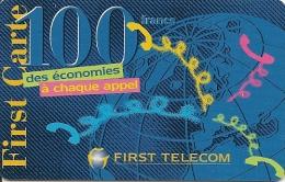 CARTE-PREPAYEE-100F-FIRST TELECOM-GLOBE En BLEU-TBE- - Autres Prépayées