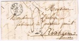 Marques D´entrées. BERN DELLE 13.SEPT 49. Haut-Rhin N°690.  DELÉMONT 12.9.49. Taxe 4d. - Marcofilie (Brieven)
