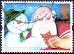 """GREAT BRITAIN 1993 Greetings Stamps. """"Gift Giving"""": 1st NVI Snowman And Father Christmas - Usati"""