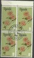 Uganda - 1969 Flowers Series (Erythrina Abyssinica) 10s CTO Block Of 4  Sc 128 - Uganda (1962-...)