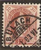 1901-03 30cs Brun Variete NoZum 68E .2.50.II  HELVETTA Obl LUXE Cat 600.-fr Attest - 1882-1906 Stemmi, Helvetia Verticalmente & UPU