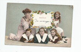 Cp , ENFANT , Femme , Fleurs , Petites Filles , BONHEUR DU MENAGE , Voyagée 1906 , Union Postale Universelle - Groupes D'enfants & Familles