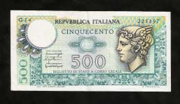 REPUBBLICA ITALIANA - 500 Lire MERCURIO (Decr. 05 / 06 / 1976 E 20 / 12 / 1976) - [ 2] 1946-… : Repubblica