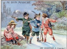 Chromo  / Image -   Grand Format -  AU  BON  MARCHE  -  CHASSE -  Une Ouverture - 6 - Egarés  (Enfants) - Vieux Papiers