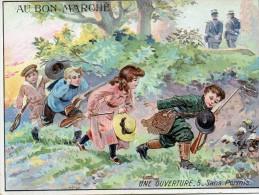 Chromo  / Image -   Grand Format -  AU  BON  MARCHE  -  CHASSE -  Une Ouverture - 5 - Sans Permis   (Enfants) - Vieux Papiers