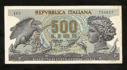 REPUBBLICA ITALIANA - 500 Lire ARETUSA (Decr. 20 / 06 / 1966) ITALIA - [ 2] 1946-… : Repubblica