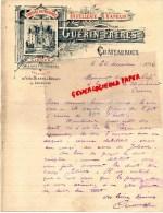 36 - CHATEAUROUX - FACTURE  GUERIN FRERES- LIQUEURS - DISTILLERIE A VAPEUR- 1896 - 1800 – 1899