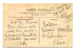 MP24 - COMMISSARIAT SPECIAL DE POLICE - GARE DE MENTON - 17 DEC 1917 - Poststempel (Briefe)