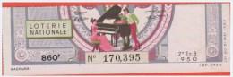Loterie Nationale 1950 - 12 ème T. B - Entier De 860 Fr - Pianiste - Billets De Loterie