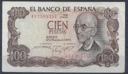 BILLET 100 PESETAS - 17 Novembre 1970 - [ 3] 1936-1975 : Régence De Franco